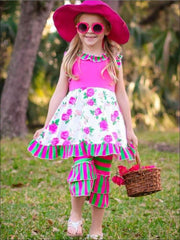 Girls Sleeveless Striped Floral A-Line Tunic & Striped Flared Tiered Ruffled Leggings Set - Fuchsia & Green / XS-2T - Girls Spring Casual