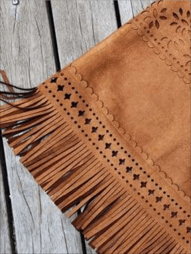Girls Sleeveless Suede Bohemian Fringe Dress - Girls Fall Dresses