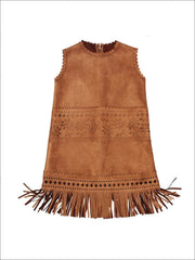 Girls Sleeveless Suede Bohemian Fringe Dress - 2T - Girls Fall Dresses