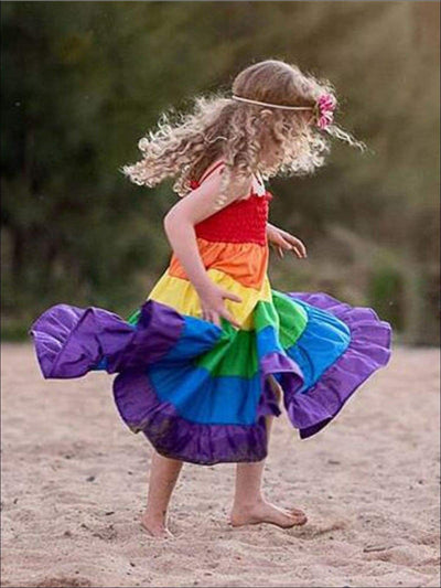 Girls Sleeveless Tiered Rainbow Maxi Dress - Girls Spring Casual Dress