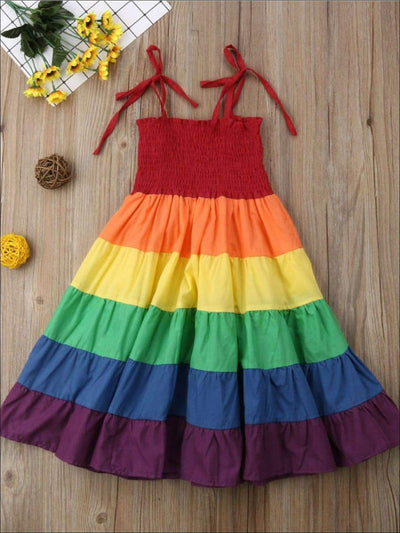 Girls Sleeveless Tiered Rainbow Maxi Dress - Rainbow / 2T - Girls Spring Casual Dress
