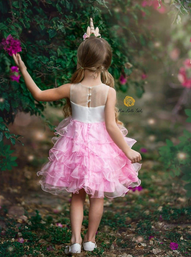 Girls Sleeveless Tiered Ruffle Flower Applique Unicorn Tutu Dress (Pink & Blue) - Girls Spring Dressy Dress