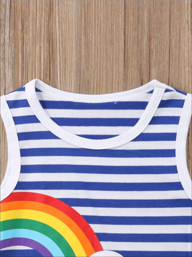 Girls Sleeveless Twinning Striped Rainbow Dress - Girls Casual Spring Dress