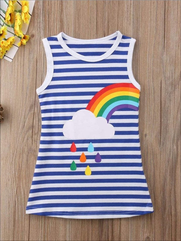 Girls Sleeveless Twinning Striped Rainbow Dress - Left Rainbow / 2T - Girls Casual Spring Dress