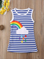 Girls Sleeveless Twinning Striped Rainbow Dress - Right Rainbow / 2T - Girls Casual Spring Dress