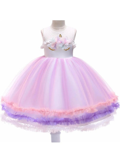 Girls Sleeveless Unicorn Tutu Party Dress - Girls Spring Dressy Dress