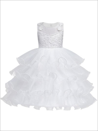 Girls Sleeveless White Floral Lace Embroidery Tiered Ruffled Communion & Flower Girl Party Dress - Girls Gown