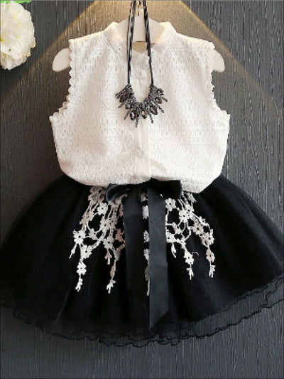 Girls Sleeveless White Lace Button Up Blouse & Black Tulle Skirt Set - Casual Spring Set