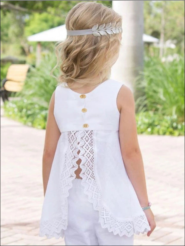 Girls Sleeveless White Lace Trimmed Open Back Tunic & Flared Pant Set - Girls Spring Casual Set
