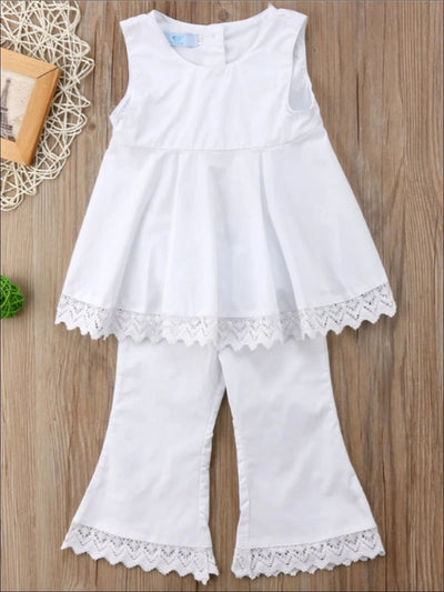Girls Sleeveless White Lace Trimmed Open Back Tunic & Flared Pant Set - 2T - Girls Spring Casual Set
