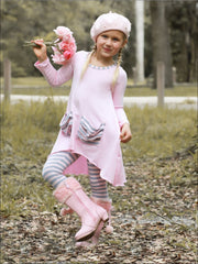 Girls Slouchy Pocket Hi-lo Tunic & Matching Leggings Set - Girls Fall Casual Set