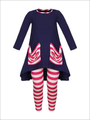 Girls Slouchy Pocket Hi-lo Tunic & Matching Leggings Set - Fuchsia / 2T/3T - Girls Fall Casual Set
