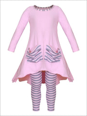 Girls Slouchy Pocket Hi-lo Tunic & Matching Leggings Set - Pink / 2T/3T - Girls Fall Casual Set
