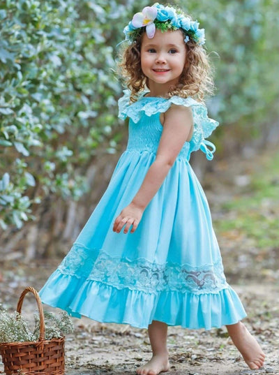 Girls Smocked Lace Ruffled Maxi Dress - Girls Spring Casual Dress