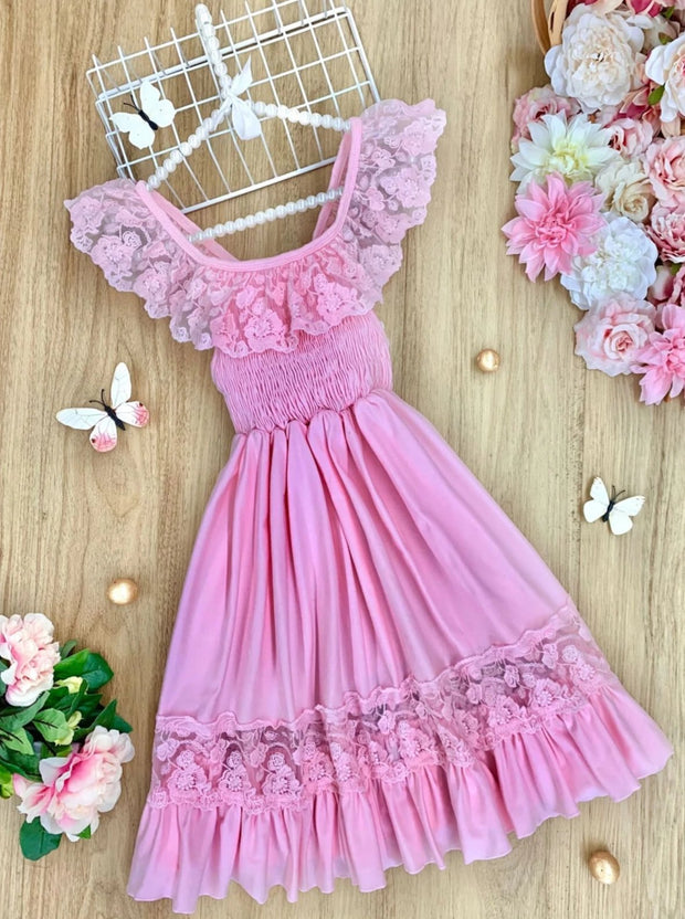 Girls Smocked Lace Ruffled Maxi Dress - Pink / 2T/3T - Girls Spring Casual Dress