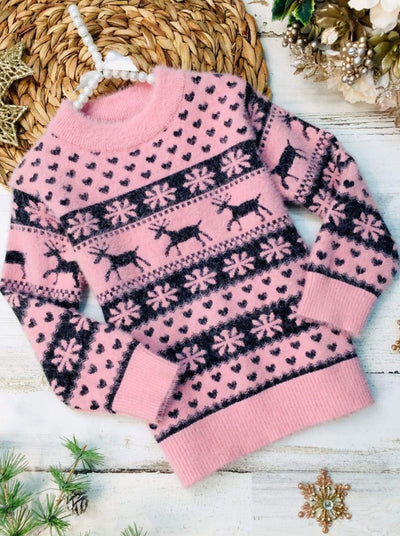 Girls Snowflake and Reindeer Heart Fuzzy Sweater - Pink / 2T - Girls Sweater