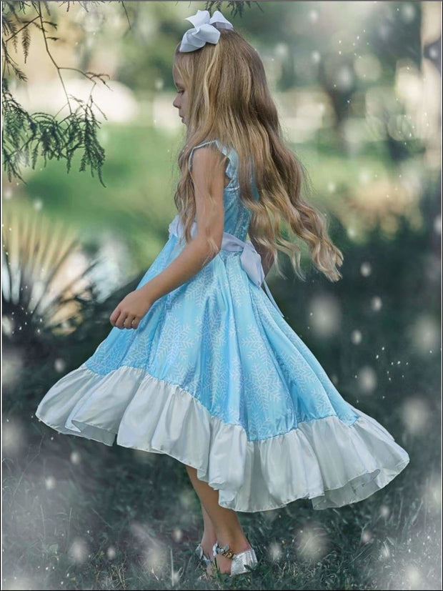 Girls Snowflake Flutter Sleeve Hi-Lo Princess Elsa Inspired Holiday Dress - Girls Fall Dressy Dress