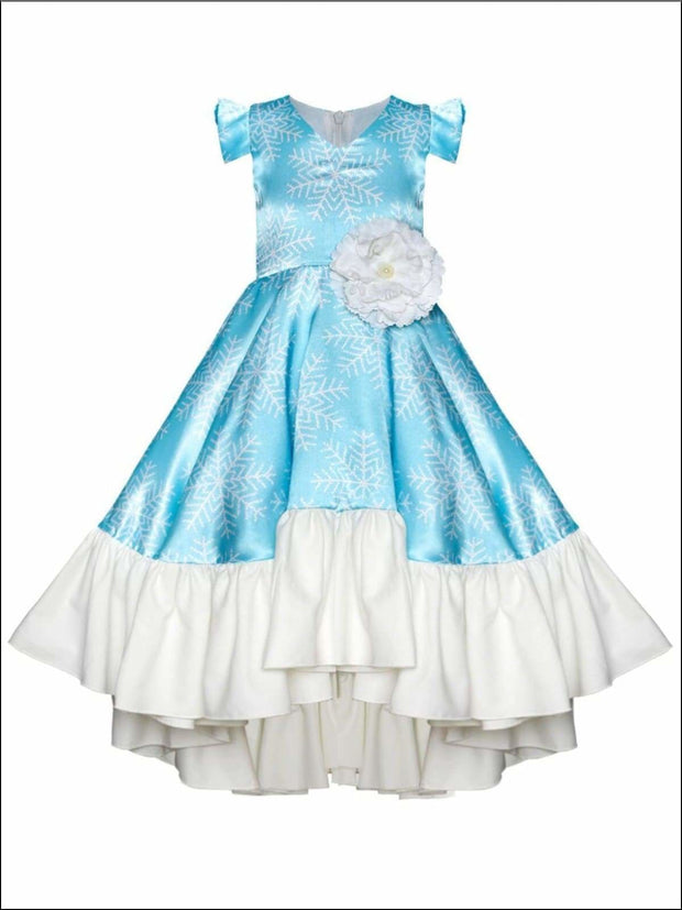 Girls Snowflake Flutter Sleeve Hi-Lo Princess Elsa Inspired Holiday Dress - Blue / 2T/3T - Girls Fall Dressy Dress