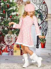 Girls Snowflake Long Sleeve A-Line Twiggy Dress - Girls Christmas Dress