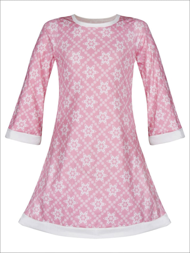 Girls Snowflake Long Sleeve A-Line Twiggy Dress - Pink / 2T/3T - Girls Christmas Dress
