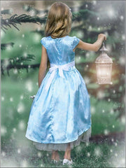 Girls Snowflake Princess Elsa Inspired Cap Sleeve Hi-Lo Holiday Dress - Girls Spring Dressy Dress