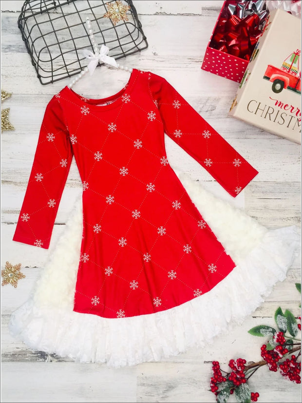 Girls Snowflake Print Long Sleeve Ruffled Rosebud Side Inserts Flare Dress - Red / 2T/3T - Girls Fall Dressy Dress