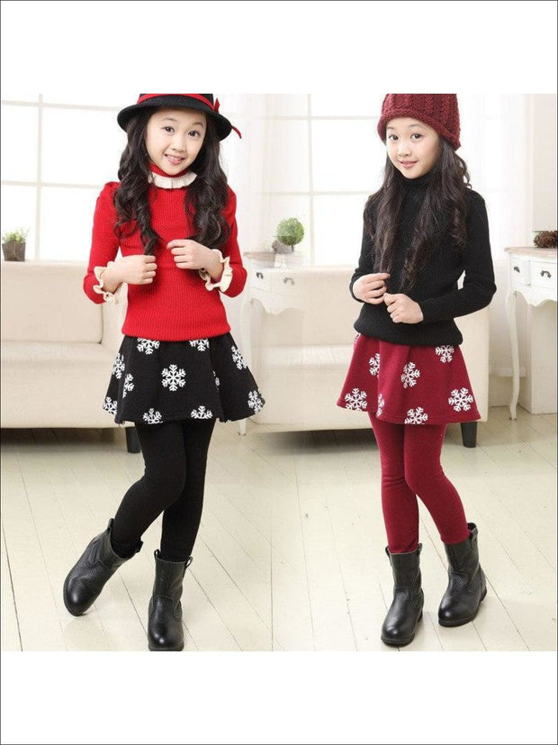 Girls Snowflake Skirt Leggings - Girls Clothing