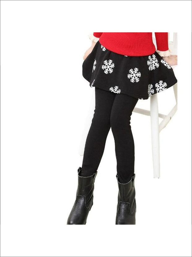 Girls Snowflake Skirt Leggings - Black / 5Y/6Y - Girls Clothing