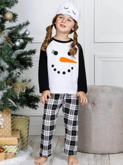 Girls Snowman Raglan Top and Plaid Pants Pajama Set - Girls Pajama