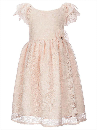 Girls Solid Color Lace Dress - Peach / 12M - Girls Spring Dressy Dress