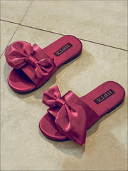 Girls Solid Color Satin Bow Sandals by Liv and Mia - Girls Slides