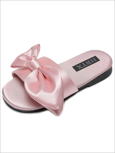 Girls Solid Color Satin Bow Sandals by Liv and Mia - Pink / 1 - Girls Slides