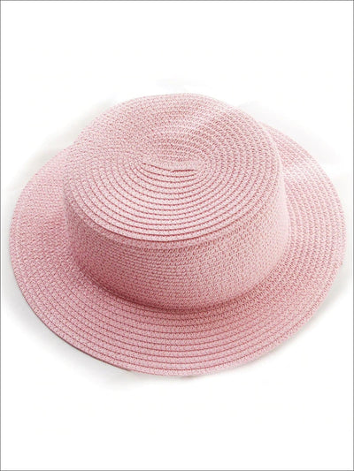 Girls Solid Color Straw Sun Hat - Pink / Kids-One Size - Mommy & Me Accessories