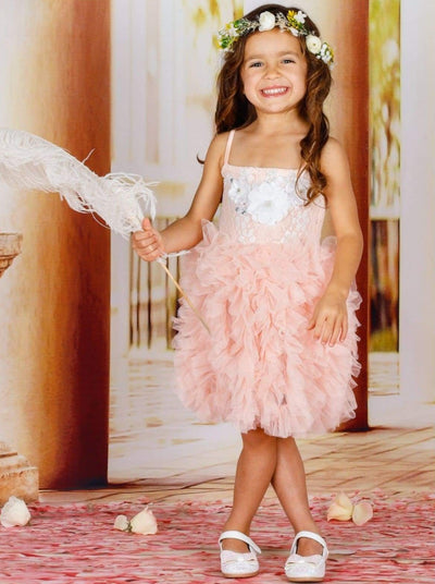 Girls Spaghetti Strap Flower Applique Ruffled Tutu Dress - Girls Spring Dressy Dress