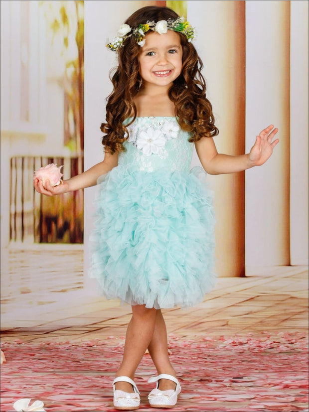 Girls Spaghetti Strap Flower Applique Ruffled Tutu Dress - Mint / 2T - Girls Spring Dressy Dress