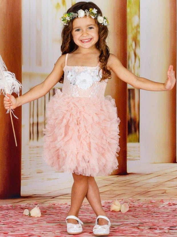 Girls Spaghetti Strap Flower Applique Ruffled Tutu Dress - Pink / 2T - Girls Spring Dressy Dress