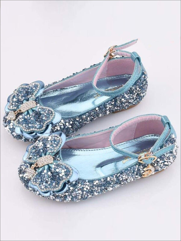 Girls Sparkle Ankle Strap Bow Tie Flats - Blue / 1 - Girls Flats