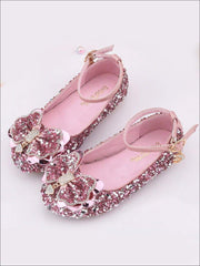 Girls Sparkle Ankle Strap Bow Tie Flats - Pink / 1 - Girls Flats
