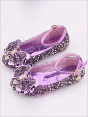 Girls Sparkle Ankle Strap Bow Tie Flats - Purple / 1 - Girls Flats