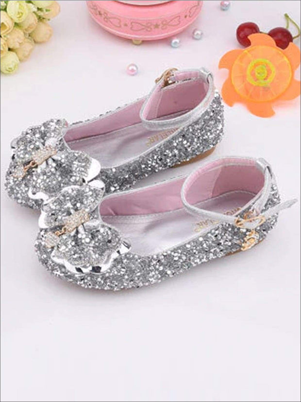 Girls Sparkle Ankle Strap Bow Tie Flats - Silver / 1 - Girls Flats