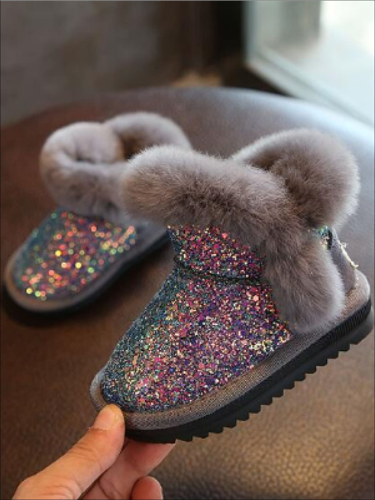 Girls Sparkle Furry Ankle Boots – Mia