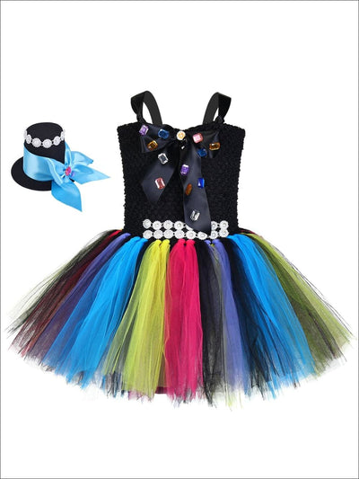 Girls Sparkly Alice in Wonderland Mad Hatter Inspired Tutu Halloween Costume - Girls Halloween Costume