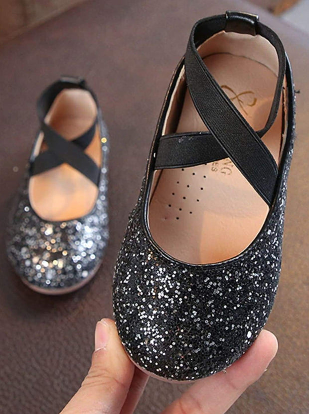 Girls Sparkly Glitter Ballet Flats By Liv and Mia - Black / 31 - Girls Flats