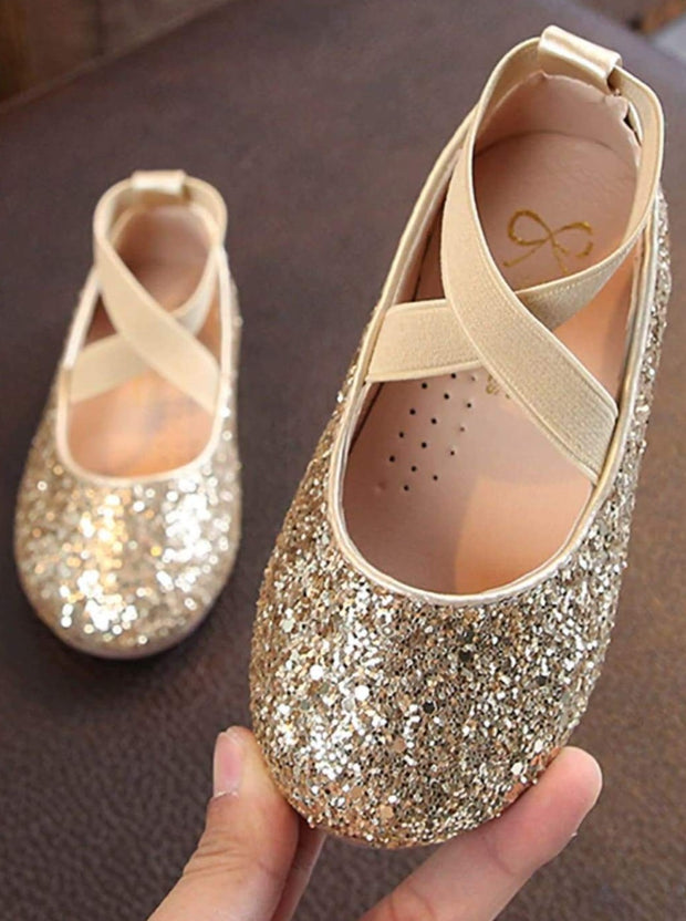 Girls Sparkly Glitter Ballet Flats By Liv and Mia - Gold / 31 - Girls Flats