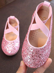 Girls Sparkly Glitter Ballet Flats By Liv and Mia - Pink / 31 - Girls Flats