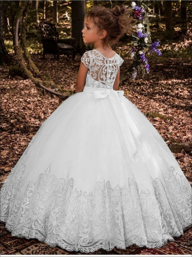 Girls Special Occasion Embroidered Floor Length Gown with Crystal Sash ( 2 Color Options) - Girls Flower Girl Dress