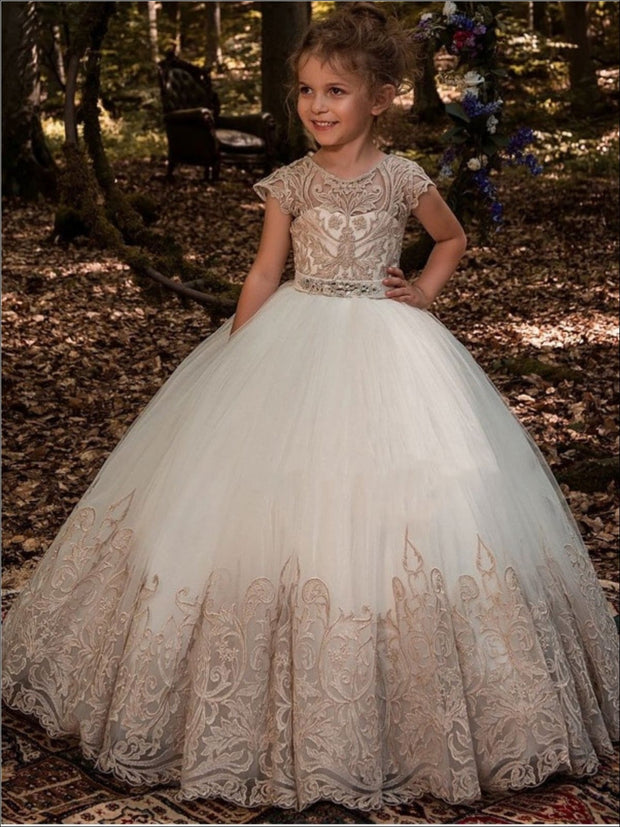 Girls Special Occasion Embroidered Floor Length Gown with Crystal Sash ( 2 Color Options) - Gold / 2T - Girls Flower Girl Dress