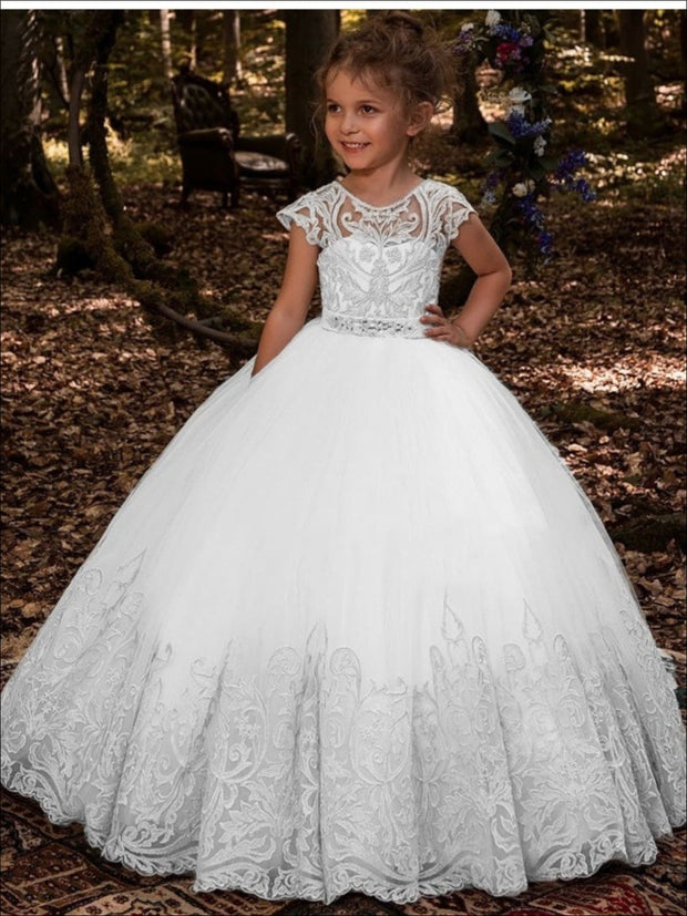 Girls Special Occasion Embroidered Floor Length Gown with Crystal Sash ( 2 Color Options) - White / 2T - Girls Flower Girl Dress
