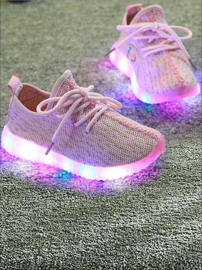 Girls Sporty LED Light Up Sneakers ( 4 Color Options) - Pink / 1 - Girls Sneakers