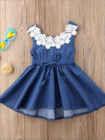 Girls Spring 3D Flower Lace A-Line Denim Dress - Blue / 2T - Girls Spring Casual Dress